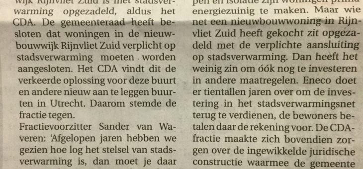 Stadsverwarming Rijnvliet verkeerde keuze?